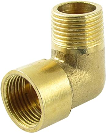 """ZCHXD 19/32"""" Female to 3/5"""" Male F/M Brass 90 Degree Street Elbow Pipe Fitting Gold Tone"""