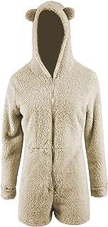 Okvpajdo Women Sherpa Fleece Pajama Suit Hooded Cute Bear Ears Long Sleeve Zipper Short Jumpsuit Sleepwear Romper