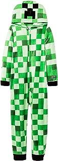 Mojang Boy's Mob Creeper Fleece Hooded Union Suit Pajama Sleeper (Medium 7/8)