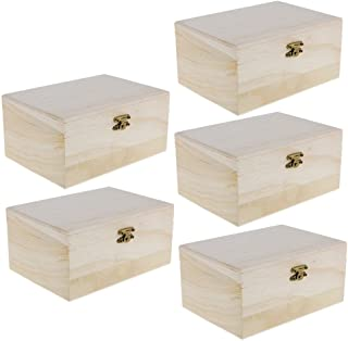 MagiDeal 5 Pcs Plain Unpainted Natural Wood Storage Box Memory Chest Craft Boxing