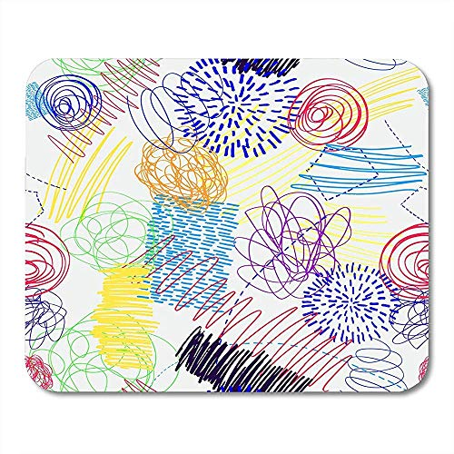 Mousepad Scribble Kinder Zeichnung Doodle Dots Linien Bunte Muster Stifte Bürobedarf Desktop-Computer Notebooks Mauspads Mauspad 25X30 Cm