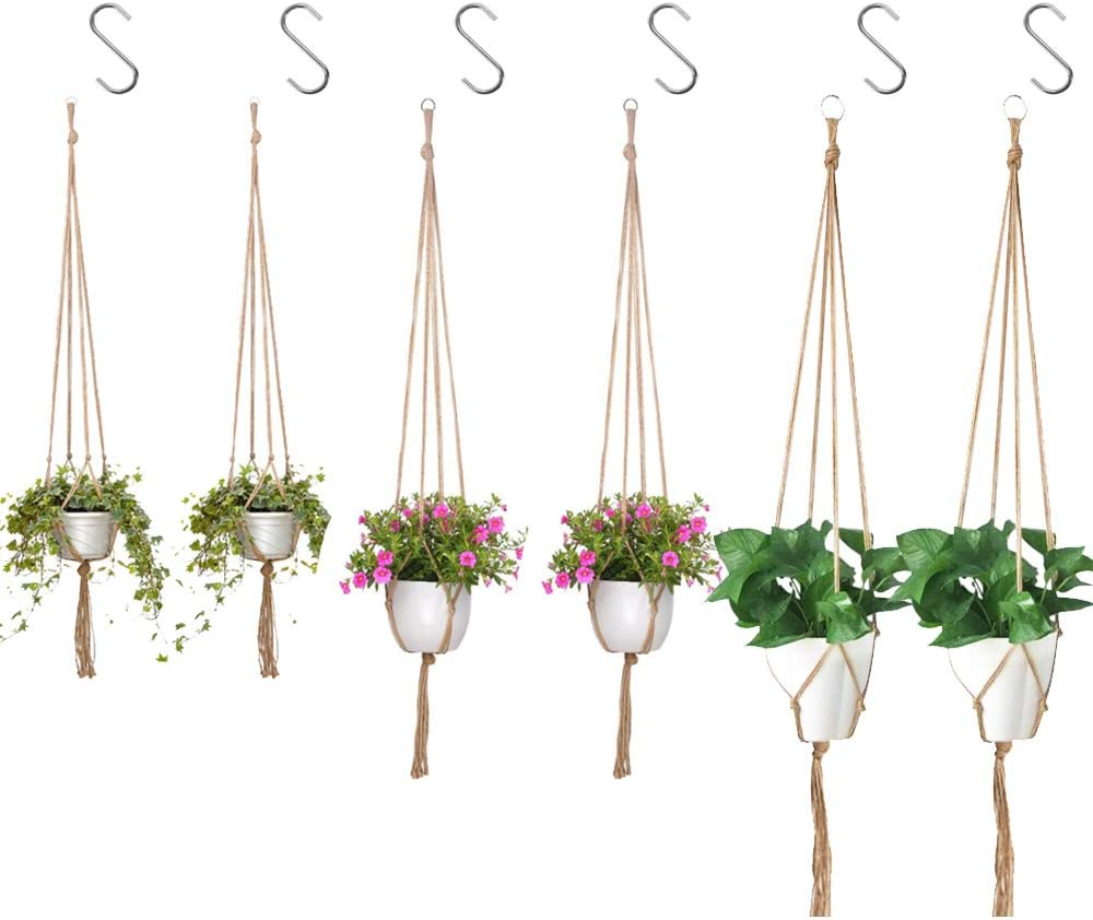 Max 76% OFF IHUIXINHE 6 PCS Macrame 40% OFF Cheap Sale Plant Outdoor Hanger with Hooks Indoor