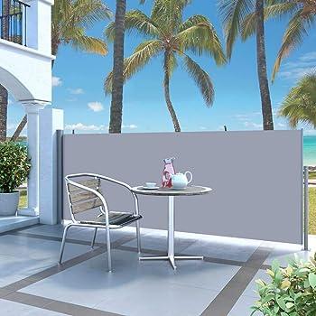 Tidyard Tenda Laterale Retrattile per Patio 120x500 cm Crema Protezione da Sole da Giardino 120 x 0-500 cm Tenda Paravento per Esterno