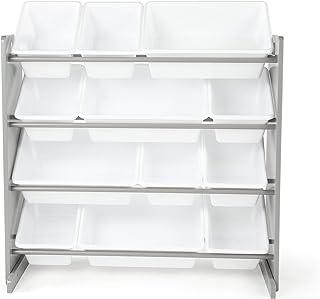 Tot Tutors Kids' Toy Storage Organizer with 12 Plastic Bins, Grey/White (Inspire Collection) (Renewed)