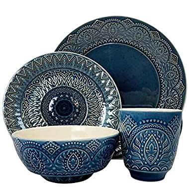 Elama ELM-PETRA 16 Piece Stoneware Dinnerware, 16pc set