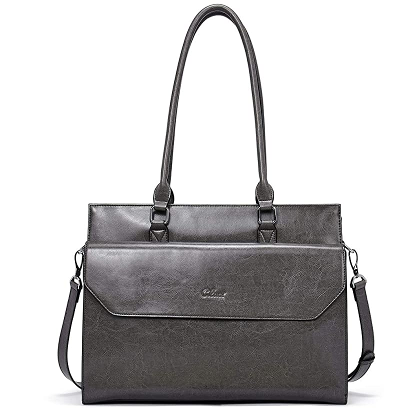 Briefcase for Women Oil Wax Leather Vintage 15.6 Inch Laptop Business Shoulder Bag gray