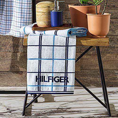 Tommy Hilfiger - Toalla de ducha, diseño de cuadros blancos, 70 x 130 cm