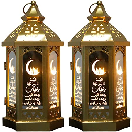 Moroccan Style Decorative Hanging Lantern For Christmas Patio Indoors Outdoors Events Parties Weddings Jatour Ramadan Lantern Gold Hanging Glass Lantern With LED