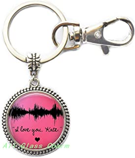 Your Own Voice's Waveform Image-Waveform Key Ring Keychain-Voice Image-Sound Wave Jewelry,AS0133 (A2)