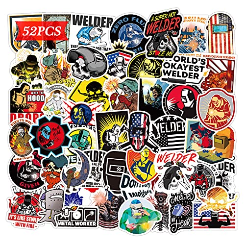 Welder Stickers 52PCS Welding Helmet Hood Vinyl Funny Gifts for Electrician Construction Workers Welding and Hard Hat Theme Decals Tool Box Art Prints for Car Bike Bicycle Window Desk Luggage