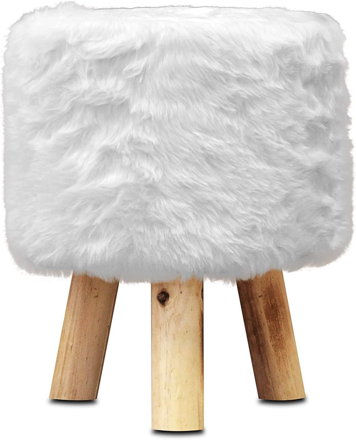 ToCi Haushalt Stool with Fur Cover [White]