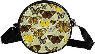 Coosun Schultertasche, Schmetterling-Motiv, Gelb, rund, für Kinder und Damen