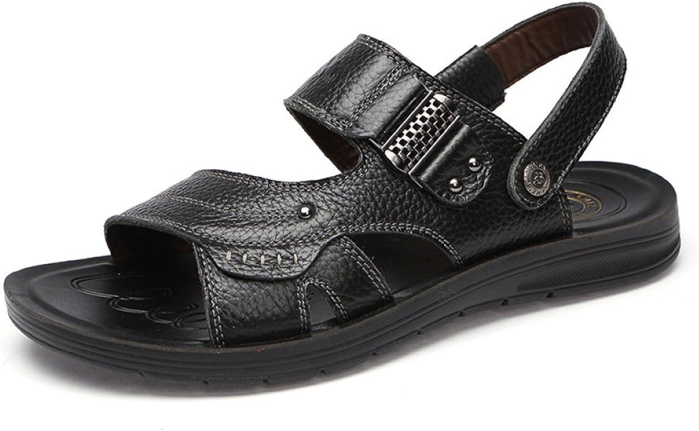LEDLFIE Men's Casual Sandals Beach shoes Breathable Men's shoes Slippers,Black-42