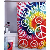 Kikkerland Peace Baby Shower Curtain, 72-Inch by 72-Inch
