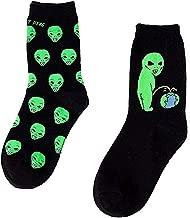 Arogheiz 2 Pairs Women Men Funny Alien Pee and Alien Head Casual Cotton Warm Socks Mid-calf Crew Socks