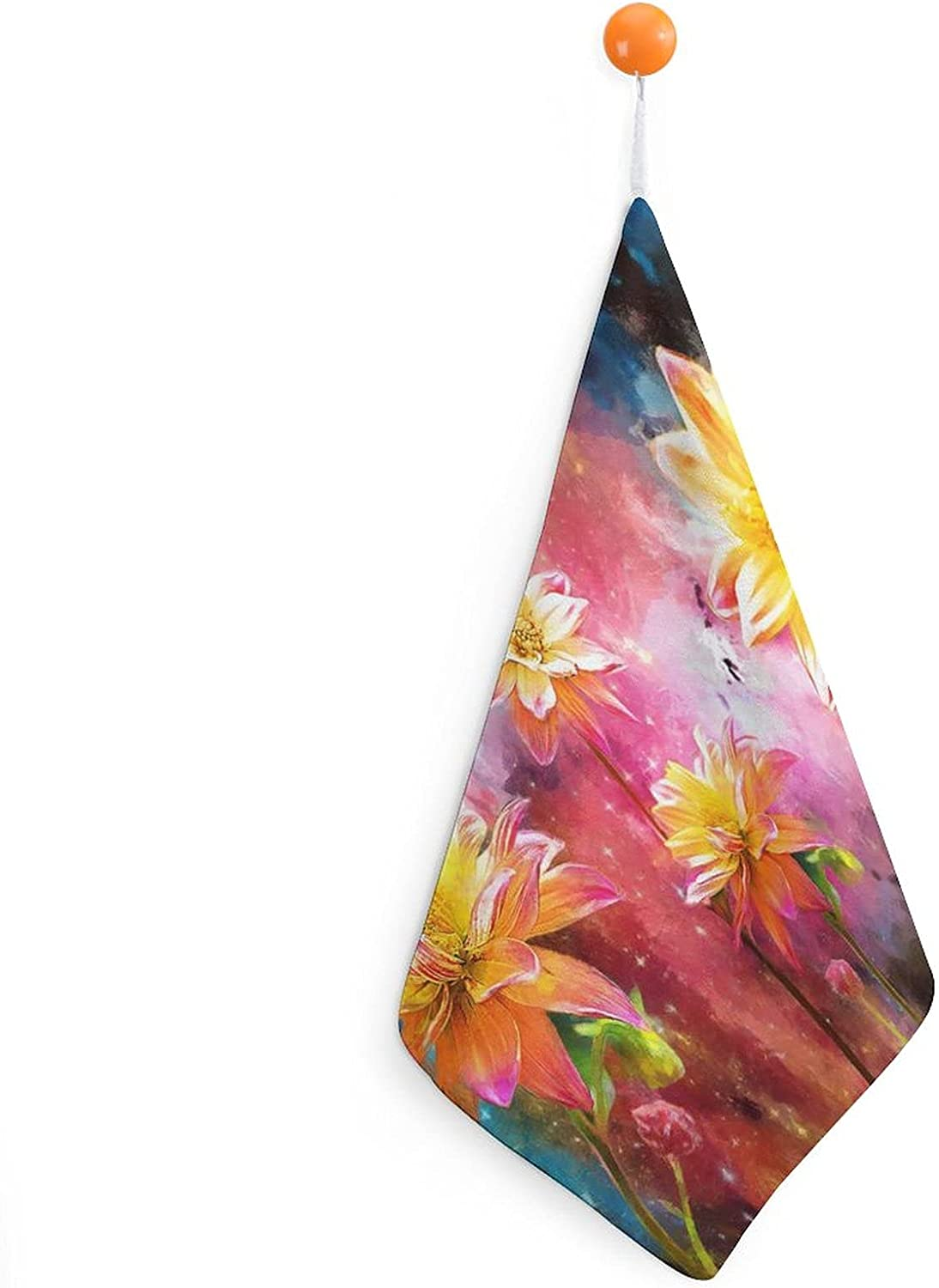 Colorful Sunflower Galaxy Hand Towel for Kitchen Colorado Springs Mall Price reduction Bathroom Decor