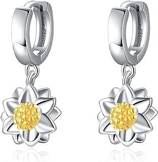 Sterling Silver Black Cross Hoop Earrings for Men Boy Women Teens Girls Child