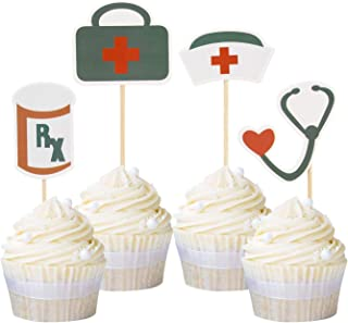 Newqueen 24 Pack Nursing Cupcake Toppers Nurse Graduation Cupcake Topper Medical Rn Themed Birthday Party Cake Decoration Picks