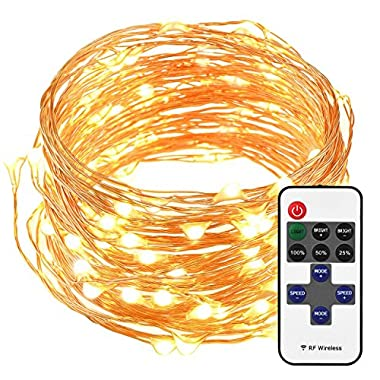 Mpow LED String Lights with Remote Control, 33ft 100LED Waterproof Decorative Lights Dimmable, Copper Wire Lights for Indoor and Outdoor, Bedroom, Patio, Garden, Wedding, Parties (Warm White)