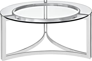 Modway Signet Modern Tempered Glass Stainless Steel Round Coffee Table In Silver