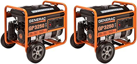 Generac GP Series 3250 3750 Watt Gas Powered Camping Portable Generator (2 Pack)