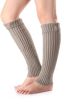Calentadores de piernas de punto de invierno Botones sin pie Decoración Botas Calcetines Color sólido Medias largas