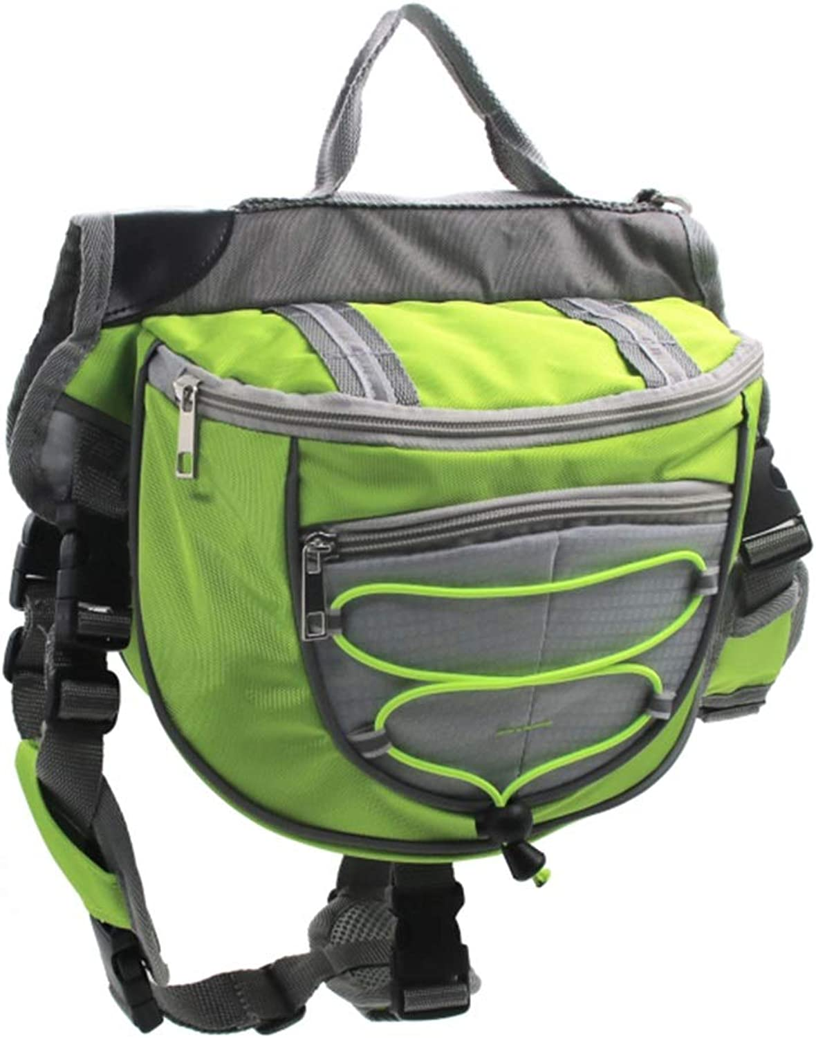 Dog Backpack, Pet Adjustable Saddle Bag Harness Carrier, for Traveling Hiking Camping, for Medium and Large Dogs (color   Green, Size   S)