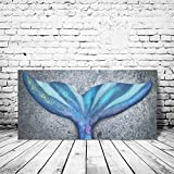 HOMEOART Mermaid Tail Wall Art Canvas Prints Ocean Fish Whale Tail Painting Framed Gallery Wrapped Girls Bedroom Wall Decor16 x32