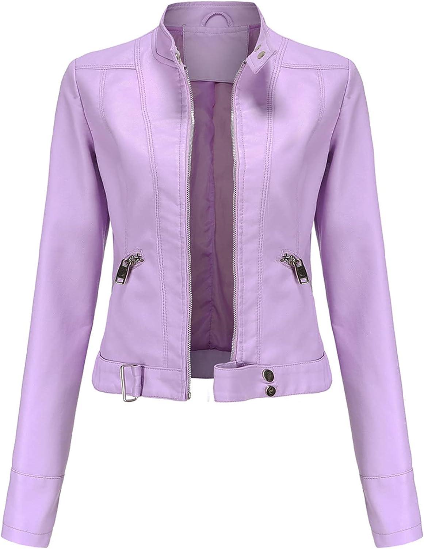 Hemlock Women Bomber Motorcycle Jacket Long Sleeve Slim Fit Jackets Zip Up Short Coat Outwears
