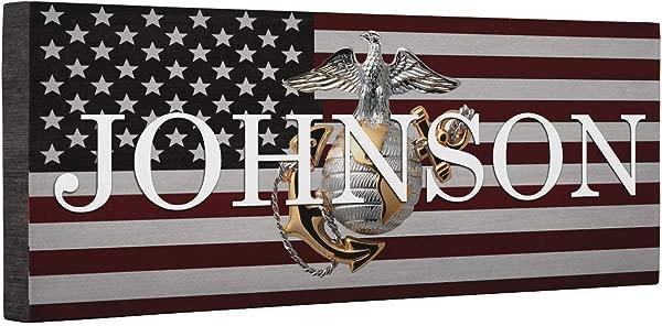 Hero Marine Logo Flag CANVAS Home D Cor
