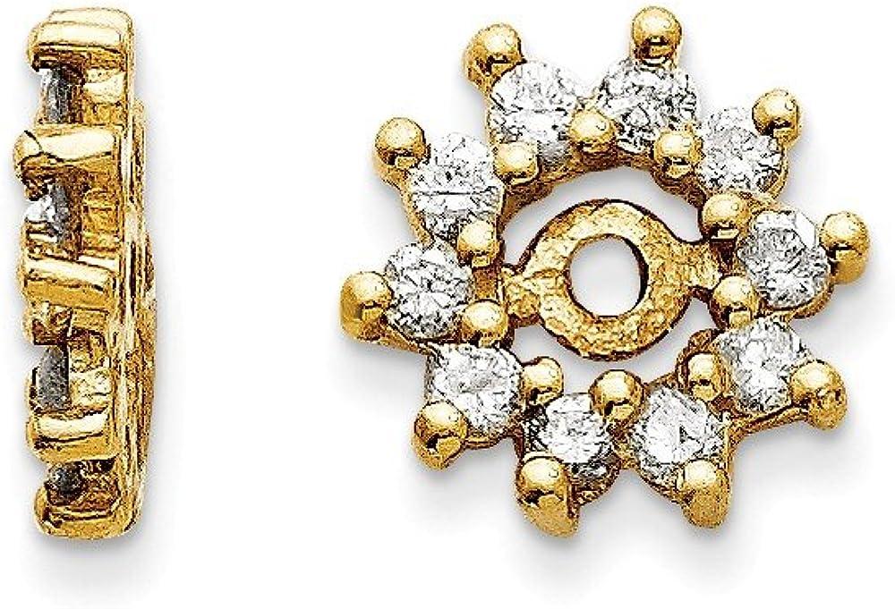Solid 14k Yellow Gold Diamond Earring Jacket 8mm (.3 cttw.)