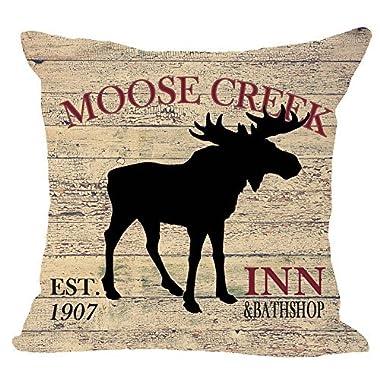 European Retro animal Moose creek inn and bath shop Elk ridge Lodge Cotton Linen Square Throw Waist Pillow Case Decorative Cushion Cover Pillowcase Sofa 18 x 18  (Moose)