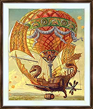 Bead Embroidery kit «Magical Flying Ship»,Fantasy and Magic,Transportation,Size in cm 9.8x11.8 25x30