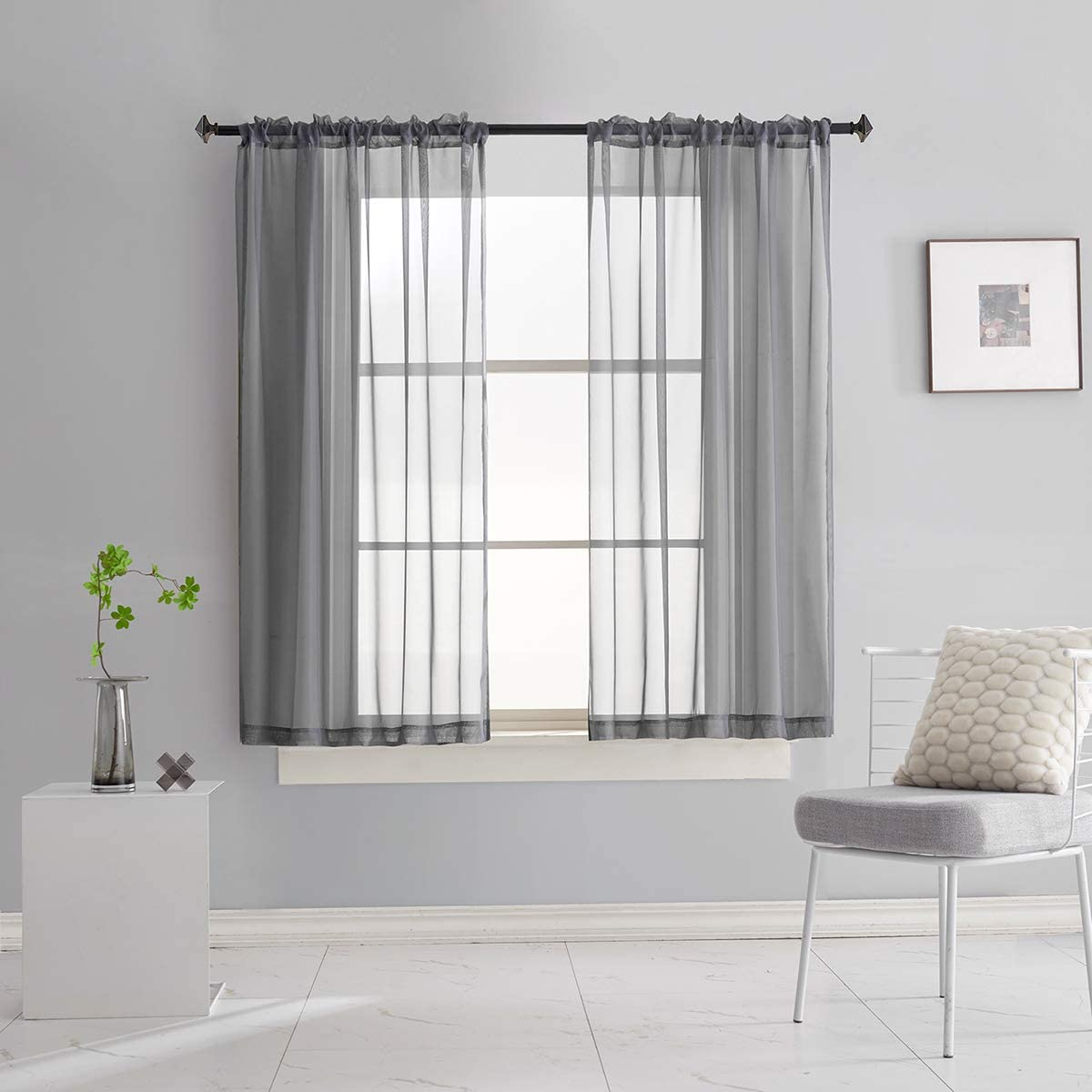 Home & Kitchen Beige Sheer Voile Curtains 84 Inches Long 2 Panels ...