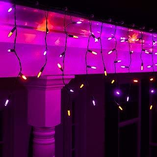 Wintergreen Lighting Halloween Mini LED Icicle Lights on Halloween Hanging Lights LED, Purple and Orange Lights on Black Wire, Fun House Halloween Decorations (70 Icicle Lights)
