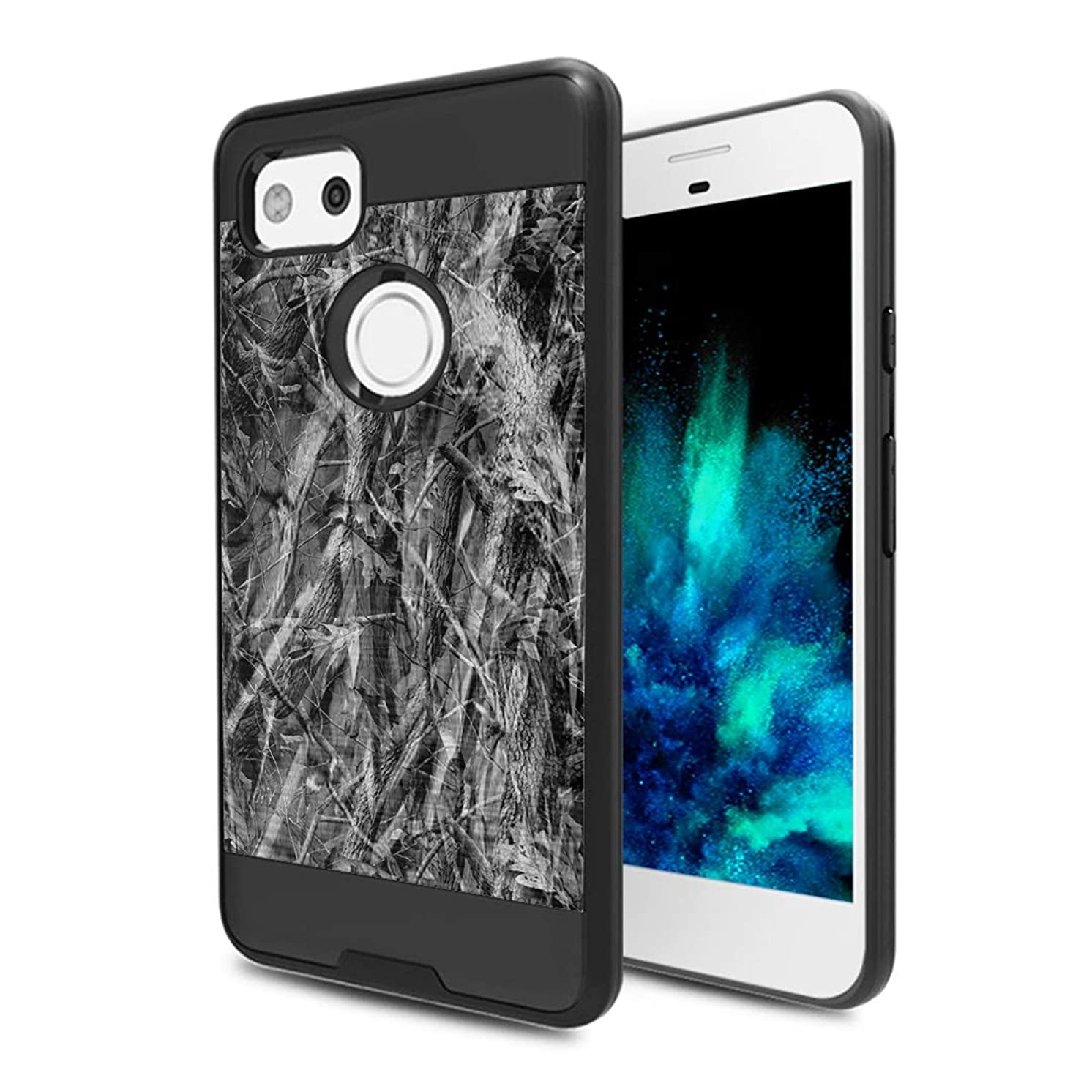 Capsule Case Compatible with Google Pixel 2 XL (2017) [Hybrid Fusion Dual Layer Slick Armor Case Black] for Pixel 2XL- (Grey Hunter)