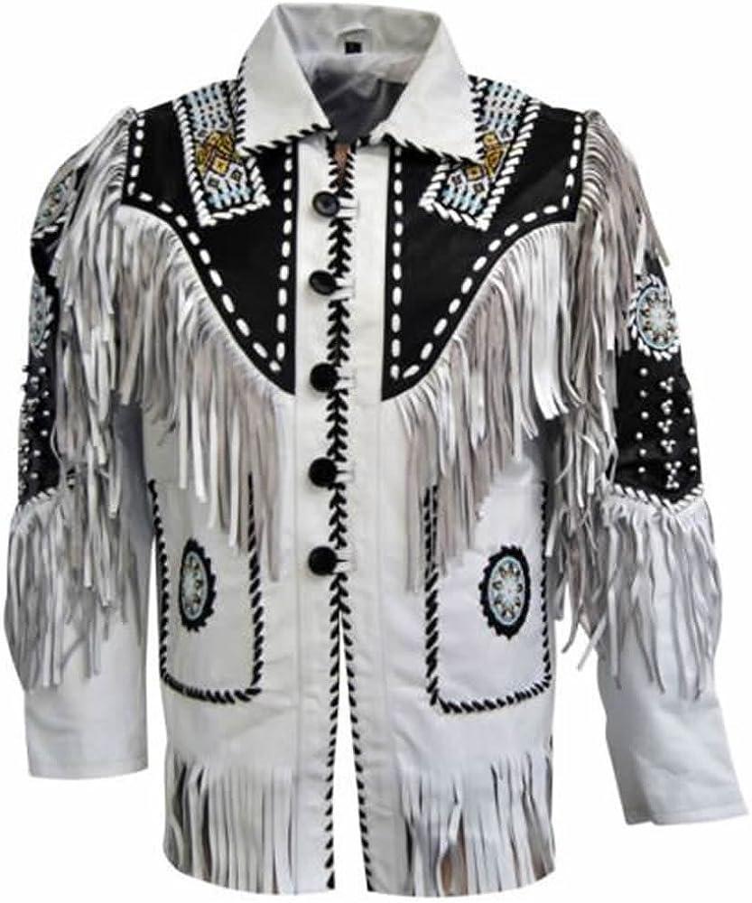 Bestzo Mens Western Leather Jacket Leather Fringed & Beaded White XS-5XL