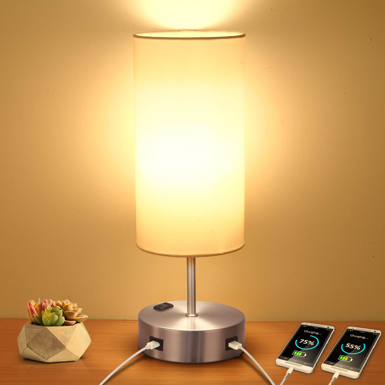 Charging Dimmable Bedside Nightstand Included