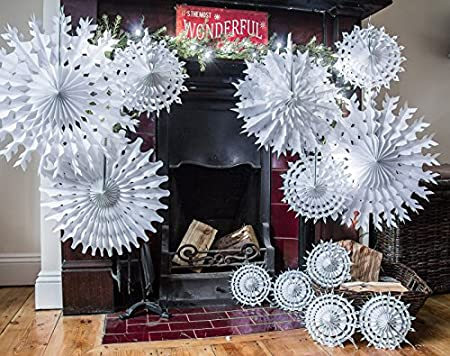 White Paper Snowflake Decorations