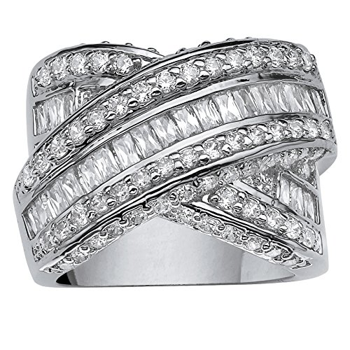 Palm Beach Jewelry Platinum Plated Baguette Cut and Round Cubic Zirconia...