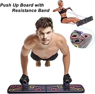 BeautyGL 13 in 1 Push Up Board with Resistance Band,  Multi-Function Portable Bracket Board Push Up Training System,  for Men,  Women Home Fitness Training
