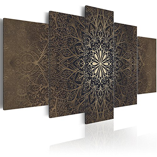 murando Akustikbild Mandala Ornament 200x100 cm Bilder Hochleistungsschallabsorber Schallschutz Leinwand Akustikdämmung 5 TLG Wandbild Raumakustik Schalldämmung f-A-0515-b-n