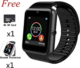 Beaulyn Bluetooth Smart Watch,Touch Screen Sport Wrist Watch Phone for Android Pedometer Smartwatch Compatible Samsung Men Women (gt08 Silver Black)