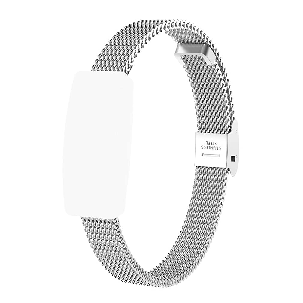 Clearance Sale!??DEESEE(TM)??Stainless Steel Mesh Replacement Watch Band + Film for Fitbit Inspire/Inspire HR (Silver)