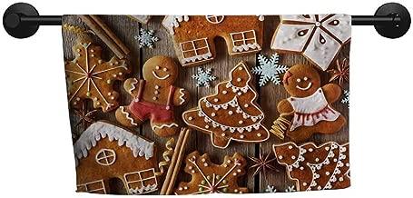 xixiBO Microfiber Towel W 35 x L 12(inch) Easy to Dry Towel,Gingerbread Man,Tasty Looking Traditional Cookies Little Snowflakes Cinnamon,Umber Pale Brown White