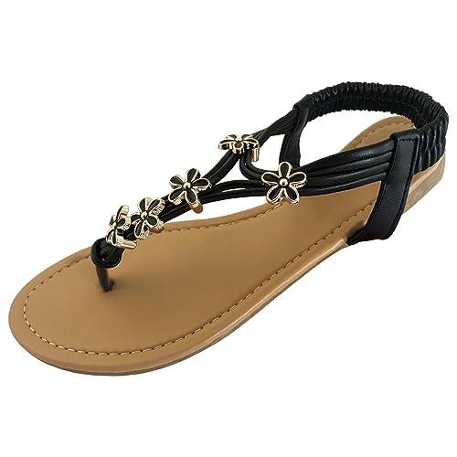 2d62c7361610 TOSKATOK Ladies Womens Open Toe Thong Sandals Summer Flip Flop Ankle Strap  Flat Shoes