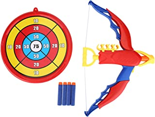 Kids Action Archery Bow and Arrow Toy Set, Including a Target and 4 Darts Arrows for Indoor and Outdoor Competition Game