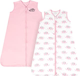 TILLYOU Medium M Breathable Cotton Baby Wearable Blanket with 2-Way Zipper, Super Soft Lightweight 2-Pack Sleeveless Sleep Bag Sack for Girls, Fits Infants Newborns Age 6-12 Months, Pink Elephant