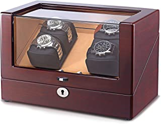 4 Watch Winder Storage Boxes for Automatic Watches with LED Light and Extremely Silent Motor