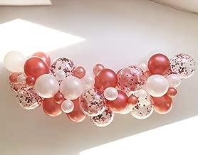 Rose Gold Balloon Garland Kit 2m/6.6ft Rose Gold Confetti Balloons - Wedding - Engagement Bridal Birthday Baby Shower Photo Back Drop Venue Decor … (Rose Gold)